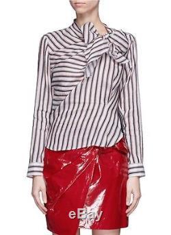 Nwt Isabel Marant 530 $ Mista - Cravate En Soie Mélangée À Encolure En V Chemise À Rayures Top Blouse 38