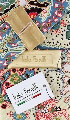 Nwt Italo Ferretti Tie Pure Soie Floral Boîte Jaune Extraluxury Fait Main Italie