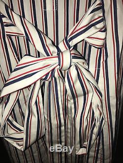 Nwt J Crew Thomas Mason Stripe Cravate Bow Taille Chemise Shirtdress Robe Talitha L 14