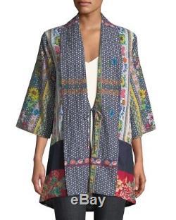 Nwt Johnny Était Rosmishka Kimono Veste Cardigan Cravate En Coton Devant Floral Sz L Nwt