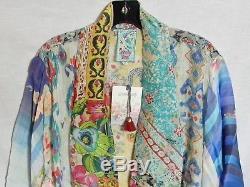 Nwt Johnny Was Mixed Kimono Jacket Cardigan Cravate En Soie Rayonne Devant XXL 1x