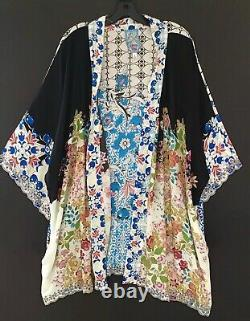 Nwt Johnny Was Multicolor Rayon Boho Brodé Ceinturée Perth Kimono 2x $298
