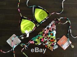 Nwt S 2017 Luli Fama Salty Skin Imprimé Animal Skimpy Ruched Sexy Tie Bikini Set