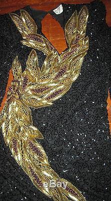 Oleg Cassini Cravate Noire Robe De Cérémonie Longue Sans Manches À Fleurs Taille 8