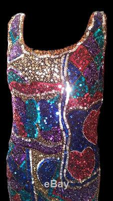 Oleg Cassini Cravate Noire Robe De Soirée Multicolore À Sequins Et Perles Multicolores Des Années 80 12