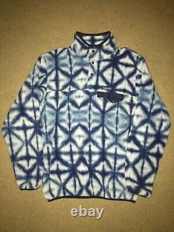 Patagonia Tie Dye Snap-t Femmes Large L Blue Synchilla Fleece Pullover Euc