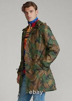 Polo Ralph Lauren Hommes À Capuchon Militaire Surplus D'armée Camo Marsh Pluie Veste Manteau