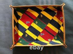 Polo Ralph Lauren Leather Bottom Patchwork Tie Silk Catchall Trinket Tray