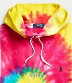 Polo Ralph Lauren Tie Dye Spirale Arc-en-shirt À Capuche Moyen Avec Des Étiquettes