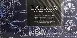 Ralph-lauren Batik / Cravate Dye Marine / Blanc Complet / Queen-3 Pc Ensemble De Couette Nip