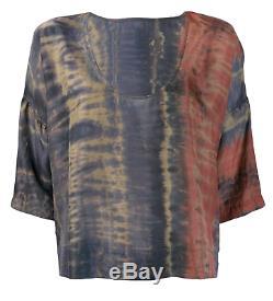 Raquel Allegra Tie Dyed Flare Nwot $ 500 Haut En Soie Multicolore À Col Rond Et Col En V 1 / S / M