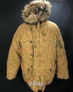 Rare Denim & Supply Ralph Lauren Indian Feather Parka Manteau De Duvet XL Hommes