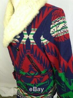 Rare Pays Polo Ralph Lauren Laine De Fourrure D'agneau Sud-ouest Veste Aztèque Navajo