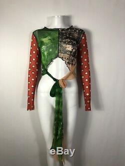 Rare Vtg Jean Paul Gaultier Multicolor Crop Top Tie M
