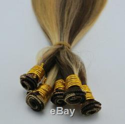 Remy Extensions De Cheveux Humains Attachés À La Main Trame Noir Brun Piano Blonde Multicolore