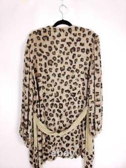 Retrofete $685 Gabrielle Sequin Leopard Belted Tie Robe Robe Taille Grande