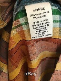 Robe Ace Manches Courtes Multicolore Bouton Plaid Vers Le Bas Nouée À La Taille Taille Xs