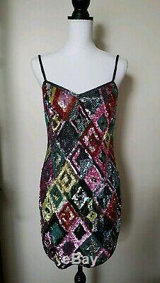 Robe Vintage En Soie Multicolore Avec Perles Et Sequins Noirs Oleg Cassini