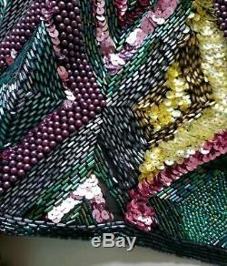 Robe Vintage En Soie Noire Multicolore Avec Perles Et Sequins Oleg Cassini Vintage Taille 6