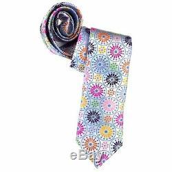 Robert Talbott Boc, Superbe Cravate De Cercles Floraux Blancs Et Multicolores,