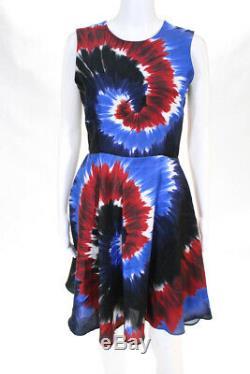 Rodarte Crew Neck Sans Manches Pour Femmes Une Robe De Ligne Multicolore Soie Tie Dye Taille 6