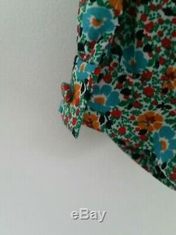 Saint Laurent - Blouse À Col Cravate À Fleurs Multicolore Encolure En V Manchettes Boutonnées