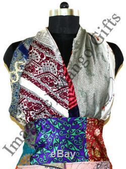 Saris En Soie Longue Maxi Robe Boho Hippie Vêtements De Plage D'été Backless Robe Femmes