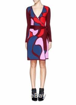 Sz L Diane Von Furstenberg Dvf Linda Rose Trellis Self Tie Ceinture Wrap Robe En Laine