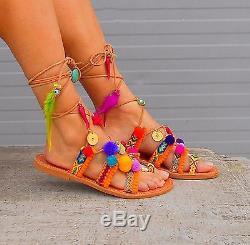 Tie Up Gladiator Sandals, Sandales Grecques, Sandales En Cuir Pom Pom