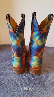Tin Haul Paix Hippie Poussin Rainbow Tie Dye Bottes De Cowboy Femmes 7 Discontinued