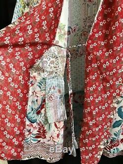 Tn-o 298 $ Sundance Catalogue Johnny Était De 100% Soie Jade Kimono S M L XL Floral Multi