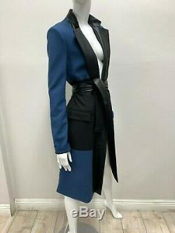 Tn-o Bcbg Maxazria Piste Trim Multicolor En Cuir Femmes Blazer Long Taille Small