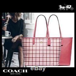 Tn-o Coach F76631 Réversible Ville Tote Vichy Imprimer Marron Rose Blanc Rouge 350 $