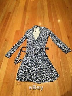 Tn-o Diane Von Furstenberg Dvf Wrap Robe New Jeanne Deux Taille Bleu Blanc 10