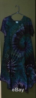 Tn-o Lularoe Carly XL Vert Bleu Violet Plum Tie Dye Tye Die Custom Unicorn