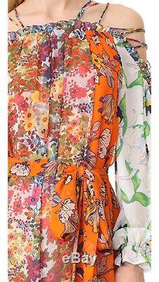 Tn-o Tory Burch Shasta Floral Piste Tie-épaule Robe Longue Taille 10