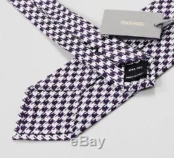 Tom Ford Nwt Cravate Pied-de-poule Blanc Purple 100% Soie Fait À La Main En Italie 3 1/8