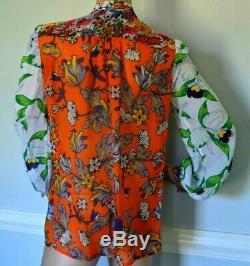 Tory Burch Kia Bow Tie Orangeraie Californie Robe Florale Chemisier En Soie Top Us 4