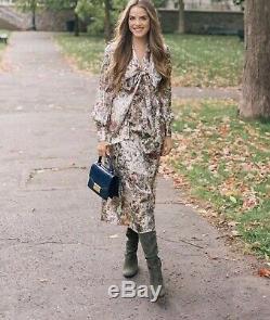 Tory Burch Robe Vanessa 598 $ Soie MIDI Melody Floral Métallique L 12