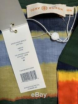 Tory Burch Stephanie Caftan Femme M Tie Dye Ballon En Coton À Rayures Maxi Dress