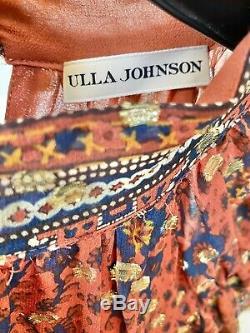 Ulla Johnson Brique Métallique Alastair À Pois En Soie Jacquard Imprimer Robe 8 Nwd