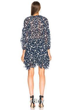 Ulla Johnson Nwt - Cravate À Volants En Soie À Imprimé Floral Azure Alissa Dress 8