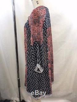 Ulla Johnson - Tunique Tunique Taille Cravate En Soie Rouge / Bleu Marine Taille 6