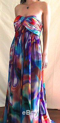Unique La Femme Taille 8 Robe De Bal / Aquarelle, Tie Dye Chiffon, Hippie