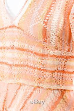 Valentino - Nwt - Robe En Maille De Soie À Manches Évasées Orange Avec Lien À La Taille Sz Xs