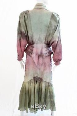 Veste Bomber Vintage En Soie Tie Dye Top Jupe Et Ceinture 4pc Costume Suit Retro S