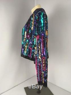 Veste Vintage Oleg Cassini Black Tie Femme 100% Soie À Paillettes Taille M Nice