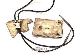 Vieux Pion Fait À La Main Zuni En Argent Sterling Multi Couleur / Image En Pierre Boucle Bolo Cravate