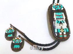 Vieux Pion Zuni Kachina Argent Multi Couleur / Incrustation De Pierre Bolo Cravate Signée