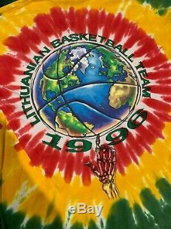 Vintage 1996 Lituanie De Basket-ball Tie Dye Shirt Grateful Dead Liquid Blue XL